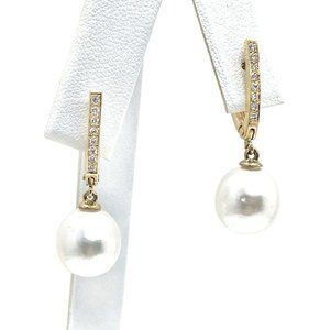 Diamond South Sea Pearl 14Kt Large Earrings